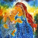 Original Batik Art Painting on Cotton, 'Virgin Mary with Baby Jesus' by Kapitan (75cm x 90cm)