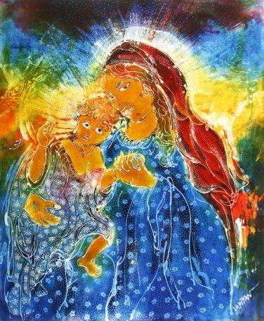 Original Batik Art Painting on Cotton, 'Virgin Mary with Baby Jesus' by Kapitan (75cm x 90cm)