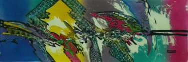 Original Batik Art Painting on Cotton, 'Abstract' by Johan (100cm x 30cm)