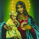 Original Batik Art Painting on Cotton, 'Virgin Mary with Baby Jesus' by Hamidi (75cm x 90cm)