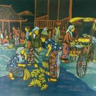 Original Batik Art Painting on Cotton, 'Marketplace' by Hamidi (90cm x 75cm)
