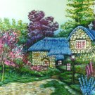 Original Batik Art Painting on Cotton, 'Cottage Scenery' by Hamidi (90cm x 75cm)