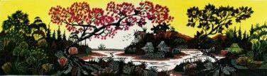Original Batik Art Painting on Cotton, 'Village Scenery' by Hamidi (150cm x 45cm)