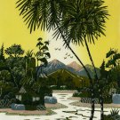 Original Batik Art Painting on Cotton, 'Village Scenery' by Hamidi (45cm x 75cm)