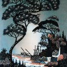 Original Batik Art Painting on Cotton, 'Village Scenery' by Hamidi (45cm x 75cm)