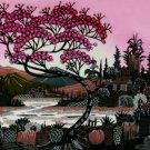 Original Batik Art Painting on Cotton, 'Village Scenery' by Hamidi (75cm x 45cm)