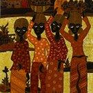 Original Batik Art Painting on Cotton, 'Fruit Sellers' by Agung (45cm x 75cm)