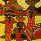 Original Batik Art Painting on Cotton, 'Fruit Sellers' by Agung (45cm x 75cm)