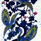 Original Batik Art Painting on Cotton, 'Peacocks on a Tree' by Agung (45cm x 75cm)