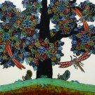 Original Batik Art Painting on Cotton, 'Tree of Wealth' by Agung (50cm x 45cm)