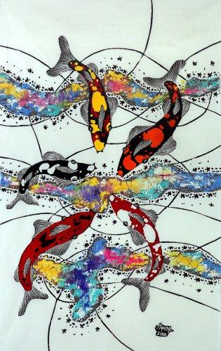 Original Batik Art Painting on Cotton, 'Koi Fish' by Agung (45cm x 75cm)
