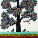Original Batik Art Painting on Cotton, 'Tree of Wealth' by Agung (75cm x 90cm)