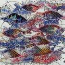 Original Batik Art Painting on Cotton, 'Fish and Prosperity' by Agung (90cm x 75cm)