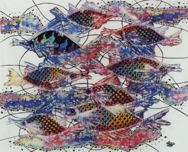 Original Batik Art Painting on Cotton, 'Fish and Prosperity' by Agung (90cm x 75cm)