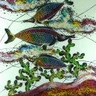 Original Batik Art Painting on Cotton, 'Arowana Fish' by Agung (75cm x 90cm)