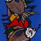 Original Batik Art Painting on Cotton, 'Fish' by Azrul (45cm x 150cm)