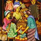 Original Batik Art Painting on Cotton, 'Market' by Dolah (45cm x 75cm)