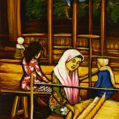 Original Batik Art Painting on Cotton, 'Weaving Lady' by Dolah (45cm x 75cm)
