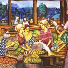 Original Batik Art Painting on Cotton, 'Market' by Dolah (150cm x 90cm)
