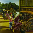 Original Batik Art Painting on Cotton, 'Rickshaw' by Dolah (75cm x 90cm)