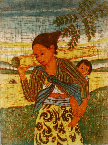 Original Batik Art Painting on Cotton, 'Lady with Child' by Dzakaria (45cm x 75cm)