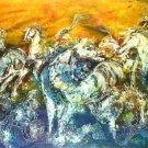 Original Batik Art Painting on Cotton, 'Wild Horses' by Kapitan (200cm x 90cm)
