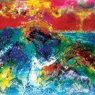 Original Batik Art Painting on Cotton, 'Ocean Wave' by Kapitan (150cm x 90cm)