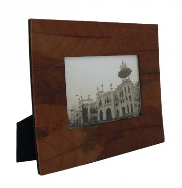 """Handcrafted Natural Mahogany Leaves Picture FrameTwo-ways (4""""�6"""" or 6""""x4"""") With Stand"""