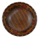 Hand-crafted Wooden Bowl with Batik Motives (21cm Diameter)