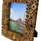 "Hand-crafted Natural Bamboo Dot Picture Frame Two-ways (5""x7"" or 7""x5"") with Stand"