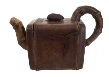Vintage Hand-crafted Oriental Yixing Clay Teapot - Cicada On Bamboo (14 oz)