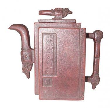 Vintage Hand-crafted Oriental Yixing Clay Teapot - Sun Tzu Art of War (15 oz)