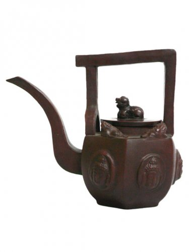 Vintage Hand-crafted Oriental Yixing Clay Teapot - Crouching Lion (16 oz)