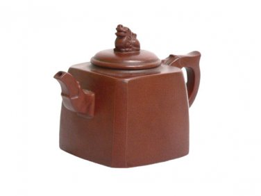 Vintage Hand-crafted Oriental Yixing Clay Teapot - Beckoning Lion (13 oz)