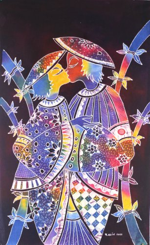 Original Batik Art Painting on Cotton, 'Kissing Couple' by Zabid (45cm x 75cm)