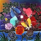 Original Batik Art Painting on Cotton Fabric, 'Butterfly' By Malek (30cm X 30cm)