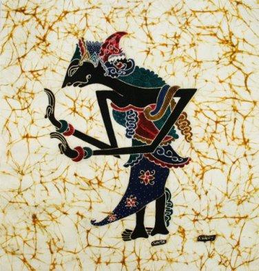 Original Batik Art Painting on Cotton Fabric, 'Wayang Kulit' By Khairy (45cm X 50cm)