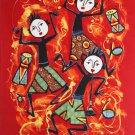 Original Batik Art Painting on Cotton Fabric, 'Musical' By Dewa (45cm X 75cm)