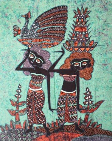 Original Batik Art Painting on Cotton Fabric, 'Village People' By Jabriel (75cm X 90cm)