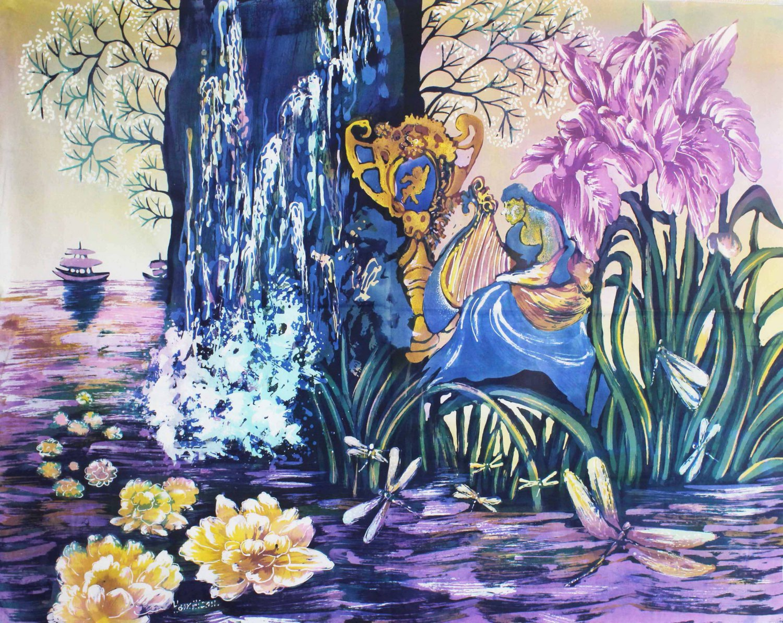 Original Batik Art Painting on Cotton Fabric, 'Fantasy' by Hamidi (90cm x 75cm)