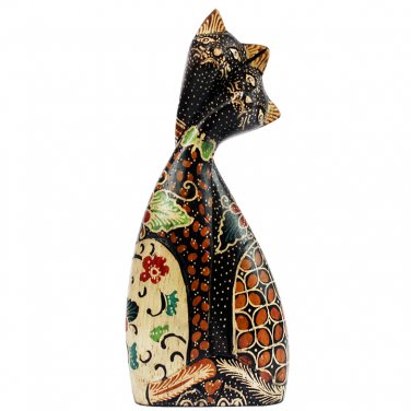 Hand-crafted Wood Figurine with Batik Motives, loving couple cats