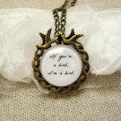The Notebook Inspired Bird Quote Pendant Necklace (Brass, 18 inches, Round)