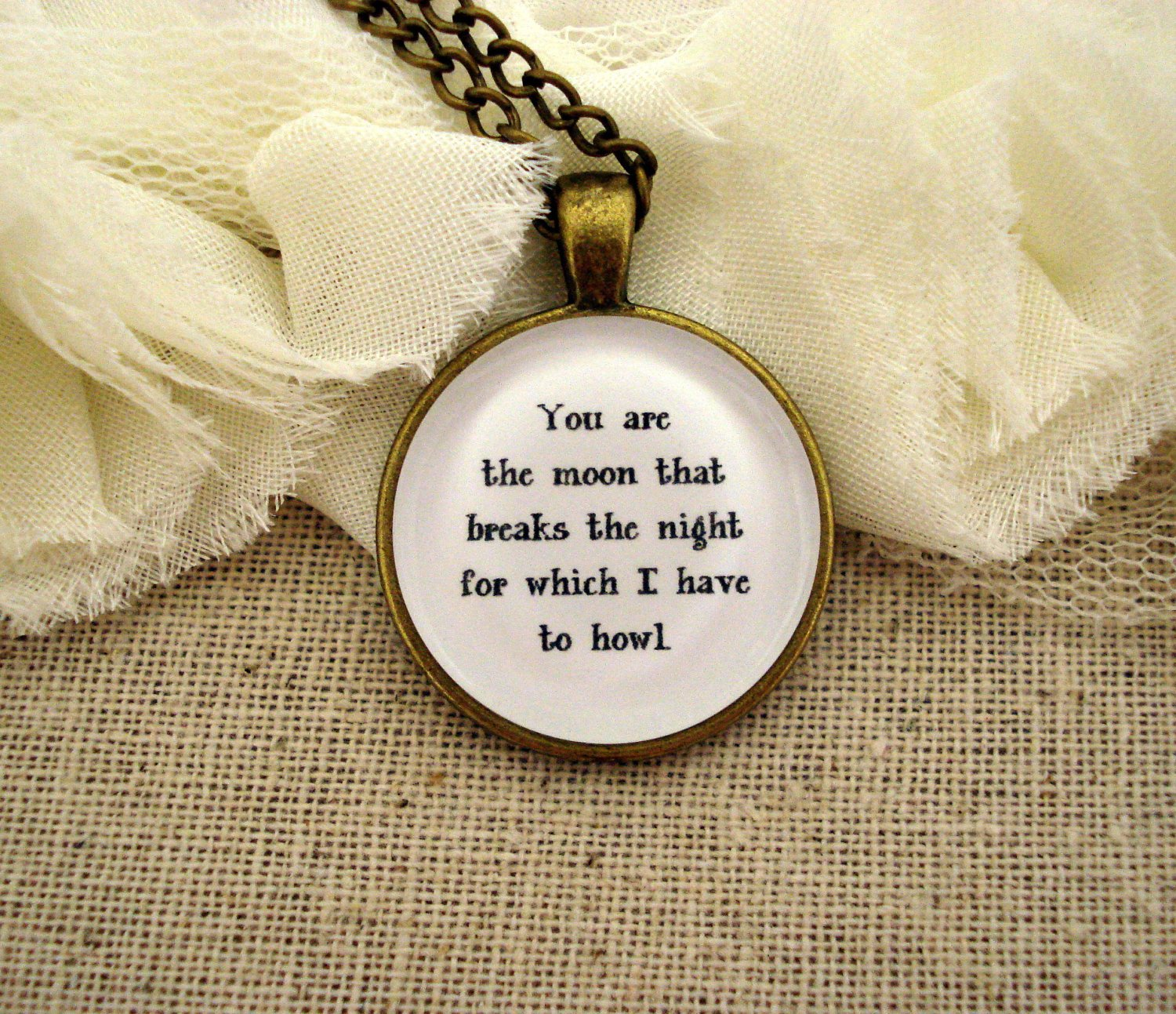 Florence and the Machine Howl Inspired Lyrical Quote Necklace (Brass, 18 inches)