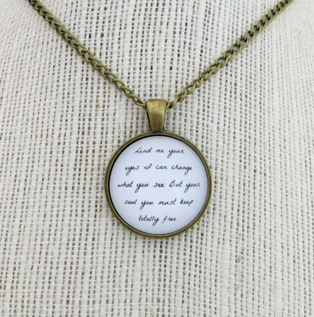 Mumford and Sons Awake My Soul Inspired Lyrical Quote Necklace Lend Me Your Eyes (Brass, 18 inches)
