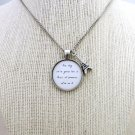 Friendly Fires Paris Inspired Lyrical Quote Necklace with Tower Charm (Silver, 18 inches)