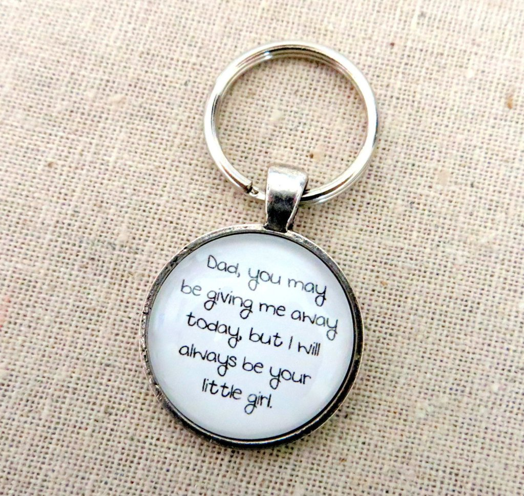 I Will Always Be Your Little Girl Keychain (Bride Father Wedding Gift, Silver)