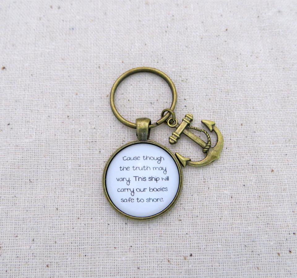 Of Monsters and Men Little Talks Inspired Lyrical Quote Keychain (Brass, Anchor Charm)