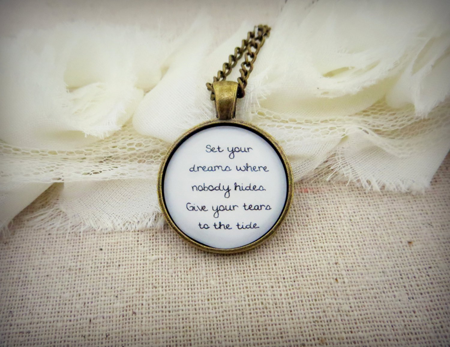 M83 Wait Inspired Lyrical Quote Pendant Necklace (Brass, 18 inches, Dreams)