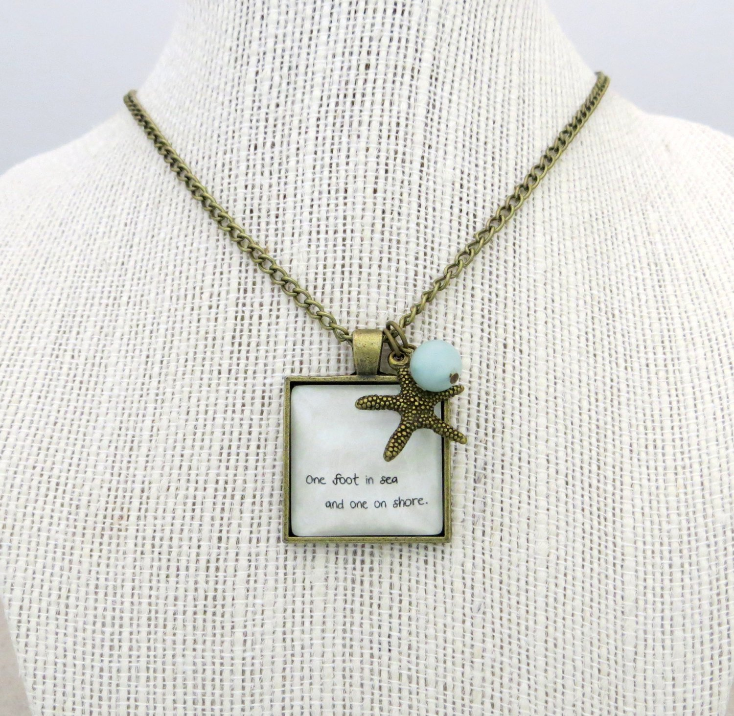 Mumford and Sons One Foot in Sea Inspired Lyrical Quote Necklace (Brass, 18 inches)