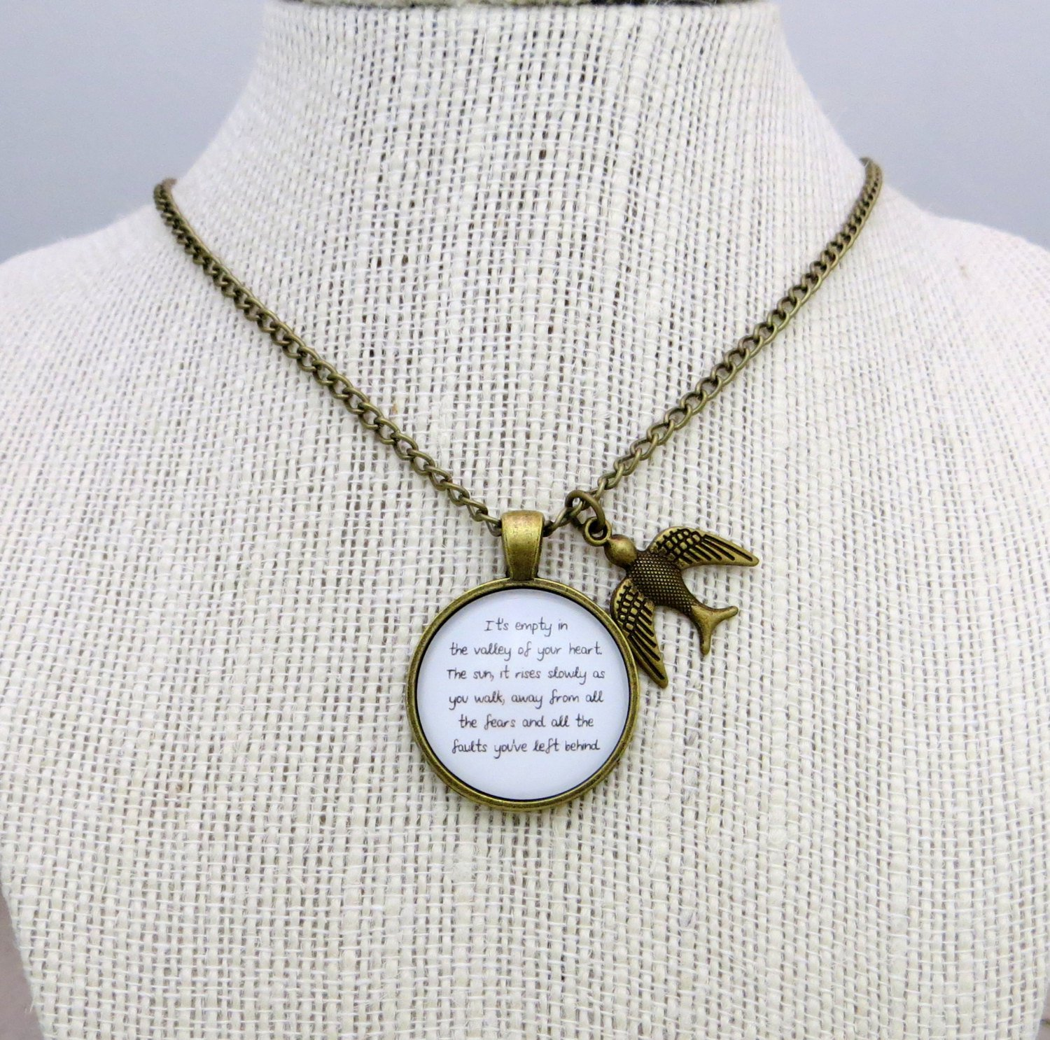 Mumford and Sons Inspired Lyrical Quote Necklace The Cave (Brass, 18 inches)